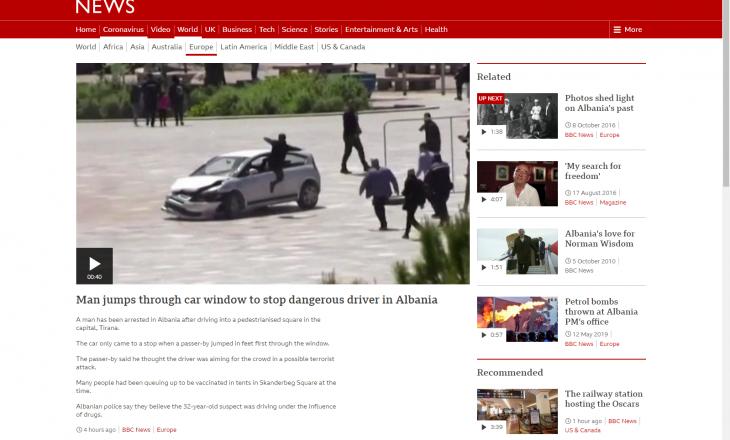 """""""BBC"""" raporton për të riun që parandaloi rrezikun nga vetura te sheshi """"Skënderbej"""""""