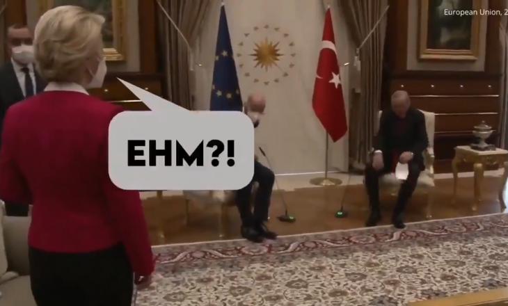 Shkoi për vizitë te Erdogani, Von der Leyen mbetë në këmbë në takim (VIDEO)
