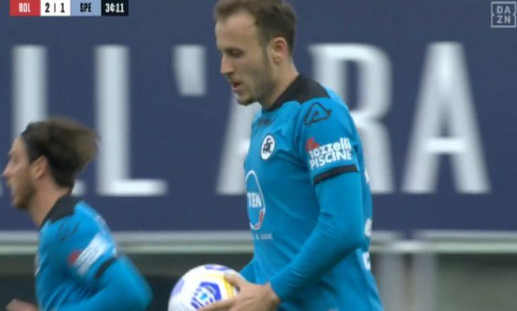 Ardian Ismajli shënon gol për Spezian ndaj Bolongës