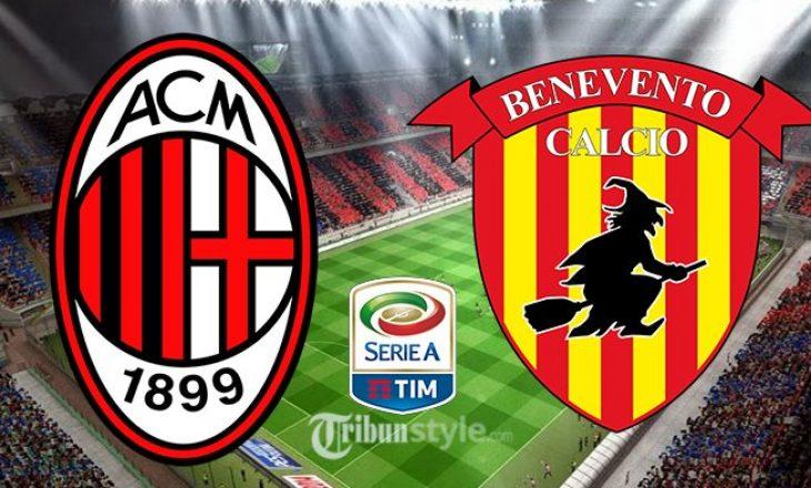 Milan vs Benevento, Ibrahimoviç rikthehet titullar – formacionet