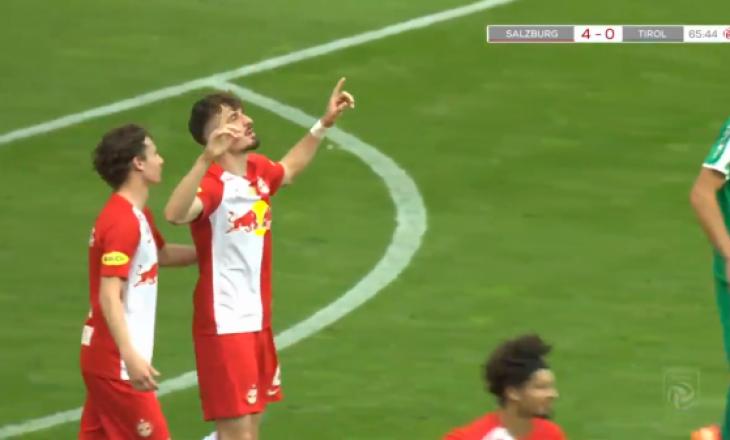 Mërgim Berisha shënon tre gola në triumfin e Salzburgut në ndeshjn e fundit kampionale në Austri