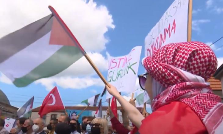 Protesta në Shkup në mbështetje të Palestinës