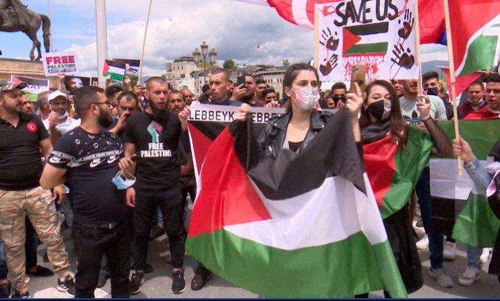 Protesta në Shkup në përkrahjet të Palestinës