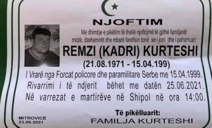 Gjenden eshtrat e Remzi Kurteshit që ishte rrëmbyer nga forcat serbe në luftë