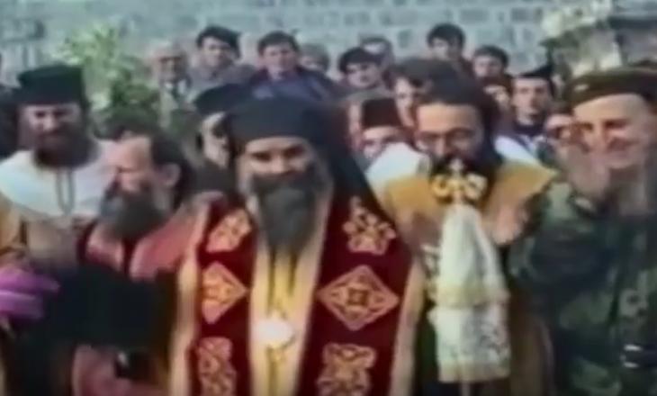 Pamje nga fillimi i ndërtimit të kishës ilegale serbe në Prishtinë – merrte pjesë edhe krimineli Arkan