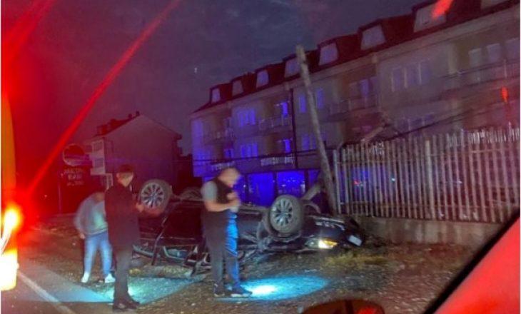 Aksident trafiku në Bërnicë të Prishtinës, rrokulliset një veturë